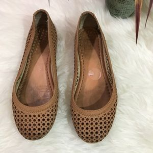 Frye Beige Perforated Suede Carson Ballet Flats